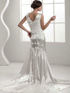 Mermaid V-neck Court Train Stretch Satin Flower Wedding Dresses