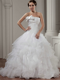 Ball Gown Strapless Court Train Organza Bowknot Ruffle Wedding Dresses