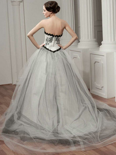 A-line Strapless Brush Train Tulle Flower Wedding Dresses
