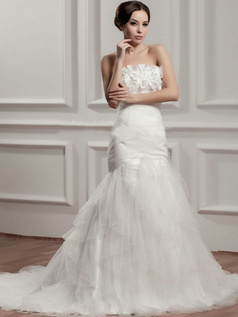 Mermaid Tube Top Court Train Organza Flower Crystal Wedding Dresses