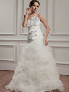 Over Hip Strapless Brush Train Tulle Tiered Flower Wedding Dresses