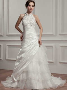 Over Hip Halter Court Train Organza Flower Side-draped Wedding Dresses