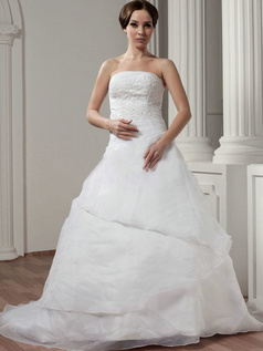 A-line Tube Top Brush Train Organza Appliques Wedding Dresses