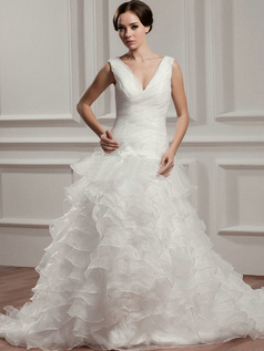 Princess V-neck Brush Train Organza Ruffle Wedding Dresses