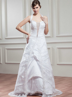 A-line Halter Floor-length Beading Sequin Lace Wedding Dresses With Semi Transparent