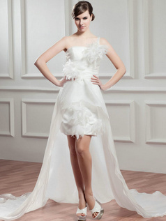 A-line One Shoulder Court Train Organza High Low Wedding Dresses With  Flower