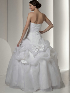 Ball Gown Strapless Floor-length Organza Bowknot Crystal Wedding Dresses With Pick-Ups