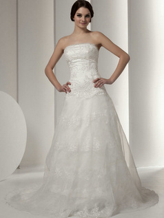 A-line Scalloped-edge Sweep Organza Beading Sequin Wedding Dresses