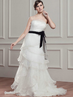 A-line Tube Top Brush Train Organza Bowknot Wedding Dresses