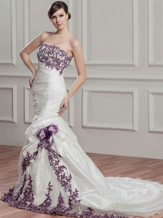 Mermaid Tube Top Court Train Taffeta Appliques Flower Wedding Dresses