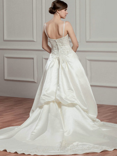 A-line V-neck Court Train Satin Sequin Beading Wedding Dresses