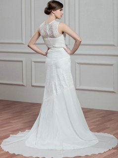 Over Hip Bateau Court Train Chiffon Beading Sequin Wedding Dresses