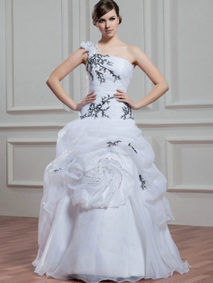 Princess One Shoulder Floor-length Organza Flower Wedding Dresses With Pick-Ups
