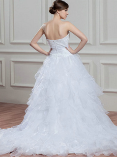 Princess Sweetheart Court Train Organza Beading Ruffle Wedding Dresses