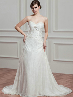 A-line Sweetheart Brush Train Beading Crystal Lace Wedding Dresses