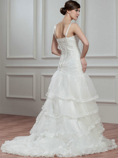 Over Hip Straps Brush Train Organza Beading Tiered Wedding Dresses