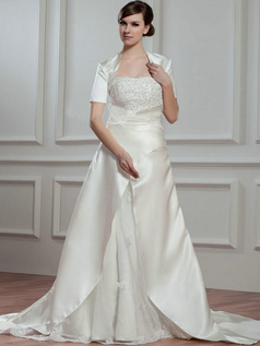 Over Hip Scalloped-edge Brush Train Satin Sequin Beading Wedding Dresses With Jacket