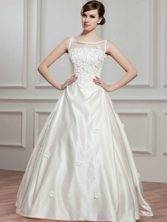 A-line Bateau Floor-length Satin Beading Flower Wedding Dresses With Semi Transparent