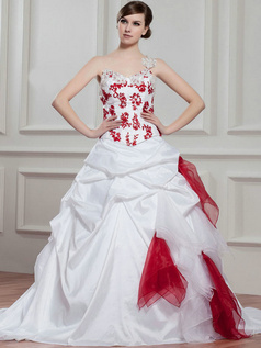 Ball Gown One Shoulder Court Train Taffeta Appliques Wedding Dresses With Pick-Ups