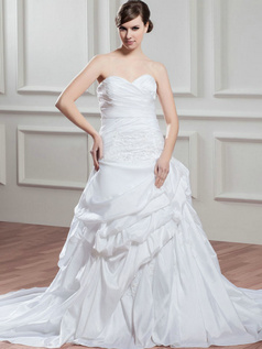 Over Hip Sweetheart Sweep Taffeta Pick-Ups Beading Wedding Dresses