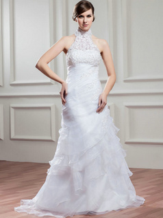 Over Hip High Neck Brush Train Organza Sequin Beading Wedding Dresses