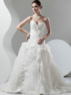 Princess Strapless Floor-length Tulle Beading Ruffle Wedding Dresses