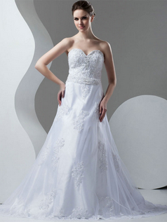 Over Hip Strapless Brush Train Tulle Beading Appliques Wedding Dresses