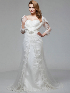 Mermaid Sweetheart Court Train Tulle 3/4 Length Sleeve Lace Wedding Dresses With Sequin