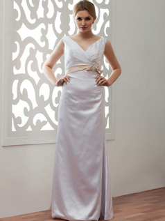 Column V-neck Floor-length Satin Beading Sequin Wedding Dresses