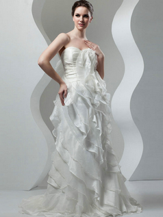 Mermaid Strapless Brush Train Organza Sequin Wedding Dresses