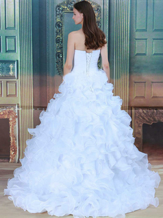 Princess Strapless Brush Train Organza Ruffle Wedding Dresses