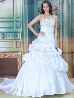 Princess Straps Brush Train Taffeta Beading Wedding Dresses