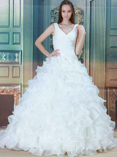 Princess Straps Brush Train Organza Sequin Ruffle Wedding Dresses