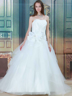 Ball Gown Strapless Brush Train Tulle Beading Wedding Dresses