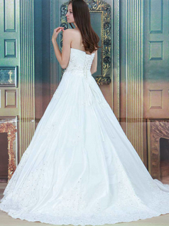 Ball Gown Strapless Brush Train Satin Beading Sequin Wedding Dresses