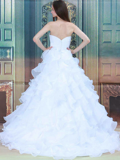 Princess Strapless Brush Train Organza Beading Wedding Dresses