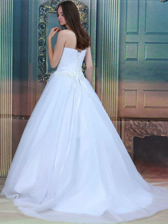 Ball Gown One Shoulder Brush Train Tulle Beading Wedding Dresses