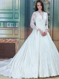 Ball Gown V-neck Brush Train Long Sleeve Satin Lace Wedding Dresses