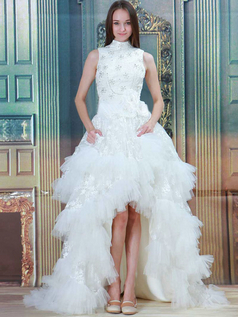 Princess High Neck Brush Train Tulle Beading High Low Wedding Dresses