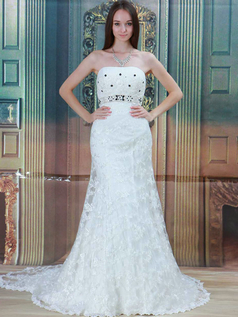 Mermaid Strapless Brush Train Beading Lace Wedding Dresses