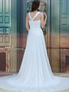 A-line Asymmetrical Collar Court Train Chiffon Flower Wedding Dresses