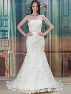Mermaid Strapless Brush Train Sashes Lace Wedding Dresses
