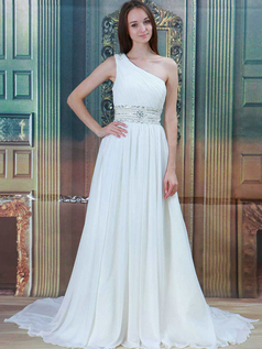 A-line One Shoulder Brush Train Chiffon Beading Sequin Wedding Dresses