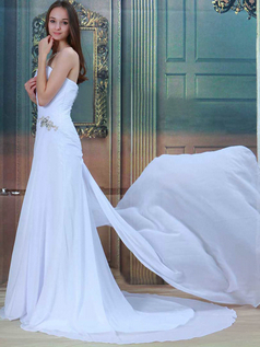 A-line Strapless Brush Train Chiffon Beading Sequin Wedding Dresses