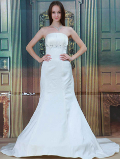 Mermaid Strapless Brush Train Satin Sequin Wedding Dresses
