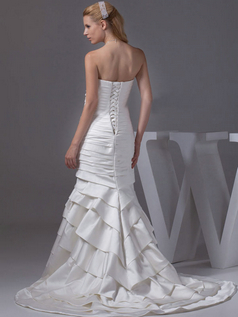 Mermaid Strapless Brush Train Satin Tiered Wedding Dresses