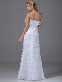 Mermaid Strapless Floor-length Organza Flower Wedding Dresses