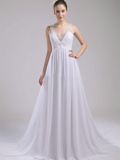A-line Straps Brush Train Chiffon Beading Sequin Wedding Dresses
