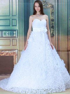 Ball Gown Strapless Brush Train Flower Sashes Lace Wedding Dresses
