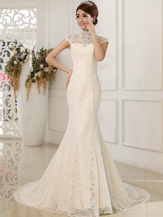 Mermaid High Neck Brush Train Beading Lace Wedding Dresses
